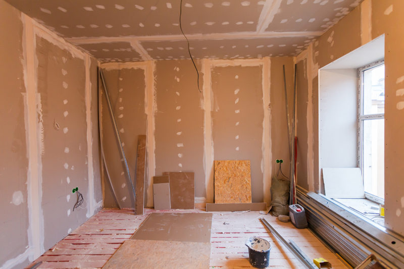 Material for repairs in an apartment is under construction and renovation